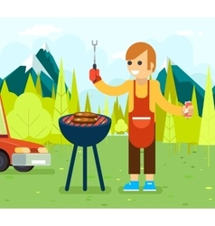 Barbecue cook background nature forest mountains vector