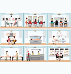 Beauty salon info graphic of people in spa and vector
