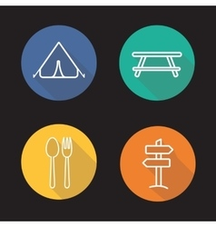 Camping flat linear long shadow icons set vector image vector image