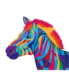 colorful zebra drawing icon vector image
