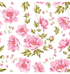 Elegant seamless peony pattern vector image