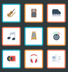 flat icons knob retro disc tone symbol and other vector image vector image