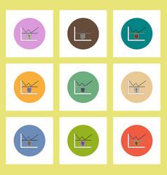 Flat icons set of progress statistics and shield vector
