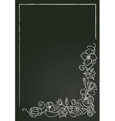 Floral card chalk flowers and leaves vector