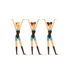 group of girls dancing in identical outfits vector image vector image