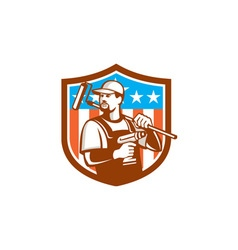 Handyman Cordless Drill Paintroller Crest Flag vector image