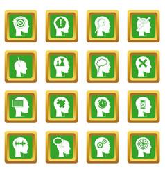 Head logos icons set green vector