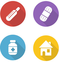 Medical treatment flat design icons set vector image