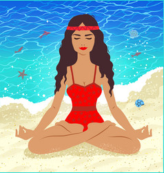 meditating young woman vector image vector image
