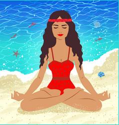 meditating young woman vector image