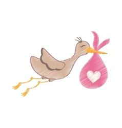 Newborn baby stork cartoon vector