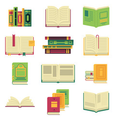 Opened and closed different books and magazines or vector
