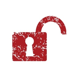Red grunge unlock logo vector image