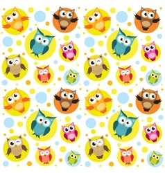 Seamless pattern with colorful owls vector image