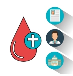 Set blood drop services medical isolated vector