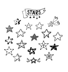 set of star icons vector image