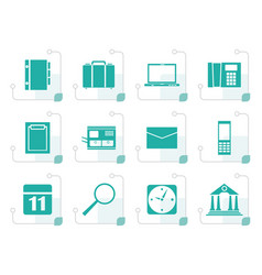 stylized business office and mobile phone icons vector image