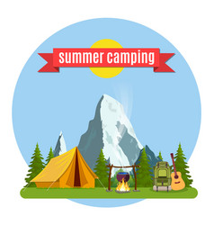 Summer camp landscape with yellow tent vector