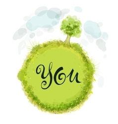 Text of You on a green circle vector image vector image