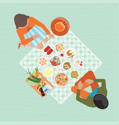 top view of happy couple picnic resting outdoors vector image vector image
