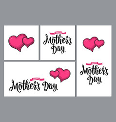 Two human heart happy mother s day lettering vector