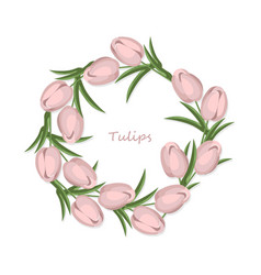 Vintage tulips flowers round wreath card vector