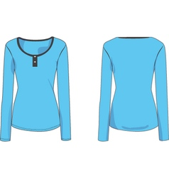 Womens long sleeve henley tshirt 2d flat vector