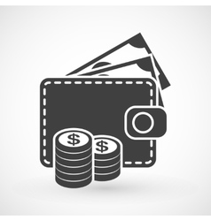 Wallet with money and coins icon vector image