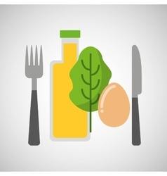 Food fresh egg lettuce juice vector
