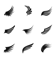 Wings of bird icons set simple style vector image