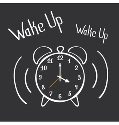 Wake up alarm clock lettering poster hand drawn vector