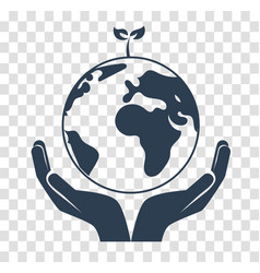 silhouette concept of saving the earth vector image