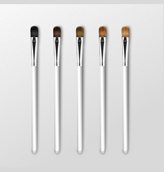 Set of professional makeup eye shadow brushes vector