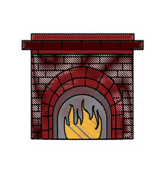 Christmas chimney flame frame brick decoration vector