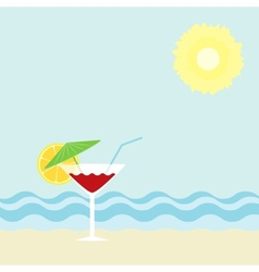 Cocktail on a beach vector image