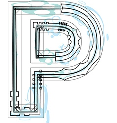Font letter P vector image