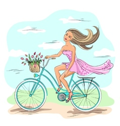 Girl on the bike vector