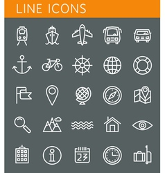 Line icons set summer holidays vacation and travel vector