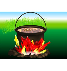 Campfire cooking vector
