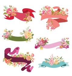 Floral ribbon banners - for wedding vector
