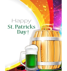 Beer glass and barrel on rainbow background vector