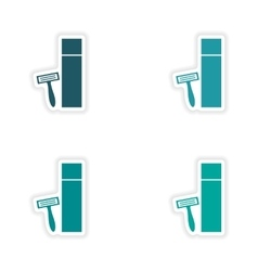 Assembly realistic sticker design on paper shaver vector