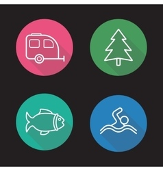 Camping flat linear long shadow icons set vector