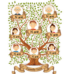 Family tree with portraits of family members vector