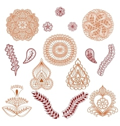 Set of elements in the ethnic style of drawing vector image