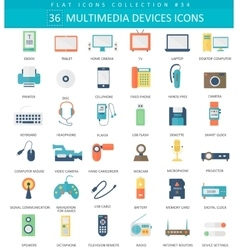 Multimedia devices flat icon set Elegant vector image