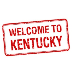 Welcome to kentucky red grunge square stamp vector