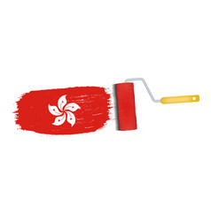 brush stroke with hong kong national flag isolated vector image vector image