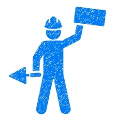 Builder with brick grainy texture icon vector