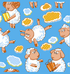 Cartoon seamless pattern with cute sheep vector